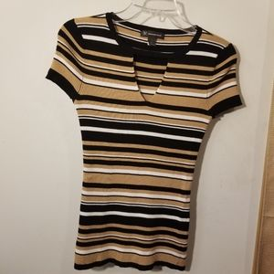 INC striped short sleeve small top